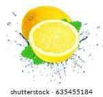 lemon splash water isolated on...   Shutterstock . vector #635455184