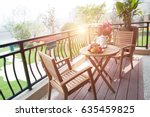 the tables and chairs on the... | Shutterstock . vector #635459825