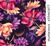 Stock photo seamless pattern botanical floral illustration natural ornament red peachy purple wild 635461877