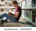 male college student sitting on ... | Shutterstock . vector #63546325