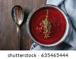 traditional beetroot soup in a... | Shutterstock . vector #635465444