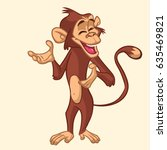 cartoon monkey smiling. vector... | Shutterstock .eps vector #635469821