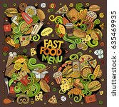 fast food doodles hand drawn... | Shutterstock .eps vector #635469935