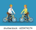 businessman and businesswoman... | Shutterstock .eps vector #635474174