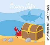underwater scene in cartoon... | Shutterstock .eps vector #635474201