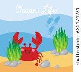 underwater scene in cartoon... | Shutterstock .eps vector #635474261