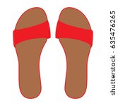 pair of red flip flops  leather ... | Shutterstock .eps vector #635476265