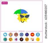 sun with umbrella icon | Shutterstock .eps vector #635480207