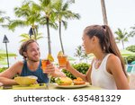 couple eating at hotel... | Shutterstock . vector #635481329