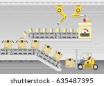 robot working with conveyor... | Shutterstock .eps vector #635487395
