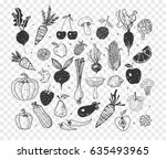 doodle fruits and vegetables.... | Shutterstock .eps vector #635493965