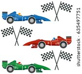 formula one cars with checkered ... | Shutterstock .eps vector #635497751