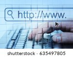internet surfing. man hand and... | Shutterstock . vector #635497805