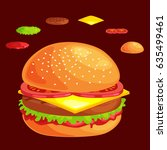 set of burger grilled beef... | Shutterstock .eps vector #635499461