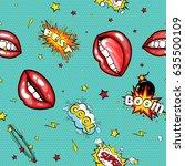 seamless pattern cartoon comic... | Shutterstock .eps vector #635500109