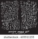 vector hand drawn arrows set... | Shutterstock .eps vector #635511155