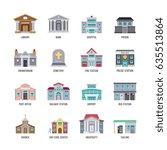 municipal city buildings... | Shutterstock .eps vector #635513864