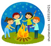 happy kids having a bonfire... | Shutterstock . vector #635515421