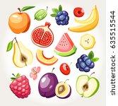 fresh fruits berries collection ... | Shutterstock .eps vector #635515544