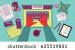 man typing on laptop. workplace ... | Shutterstock .eps vector #635519831