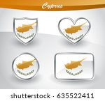 glossy cyprus flag icon set... | Shutterstock .eps vector #635522411