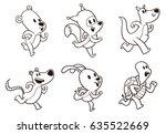 vector set of cute running... | Shutterstock .eps vector #635522669