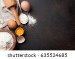pasta cooking ingredients on... | Shutterstock . vector #635524685