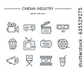 tv industry icons line set.... | Shutterstock .eps vector #635529275
