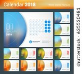 january 2018. desk calendar for ... | Shutterstock .eps vector #635530481