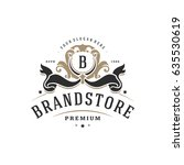 luxury monogram logo template... | Shutterstock .eps vector #635530619