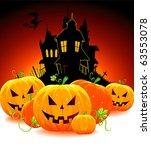 halloween pumpkin with castle ...   Shutterstock .eps vector #63553078