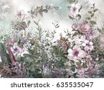 abstract colorful flowers... | Shutterstock . vector #635535047
