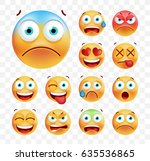 set of cute emoticons on white... | Shutterstock .eps vector #635536865