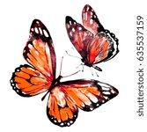 beautiful red butterflies...   Shutterstock . vector #635537159