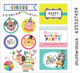 set of birthday card and design ... | Shutterstock .eps vector #635537459