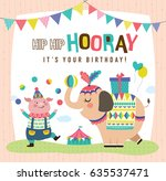 birthday card with cute little... | Shutterstock .eps vector #635537471