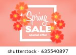 spring sale background with... | Shutterstock .eps vector #635540897