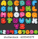 cartoon font. multicolored... | Shutterstock .eps vector #635545379