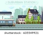suburban station. city life... | Shutterstock .eps vector #635549921