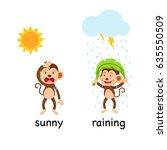 opposite words sunny and... | Shutterstock .eps vector #635550509