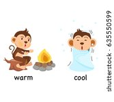 opposite words warm and cool... | Shutterstock .eps vector #635550599