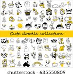 cute doodle collection. simple... | Shutterstock .eps vector #635550809