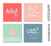 collection of 4 beautiful... | Shutterstock .eps vector #635553659