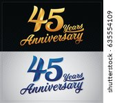 forty five years anniversary... | Shutterstock .eps vector #635554109