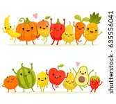 cartoon fruits and vegetables... | Shutterstock .eps vector #635556041