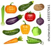set of vegetables labels with... | Shutterstock .eps vector #635557061