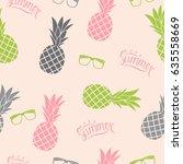 pineapple natural seamless... | Shutterstock .eps vector #635558669