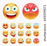 set of cute emoticons on white... | Shutterstock .eps vector #635559071