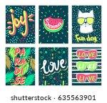 set summer vector cards.trendy... | Shutterstock .eps vector #635563901