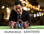 portrait the young gambler man...   Shutterstock . vector #635570555